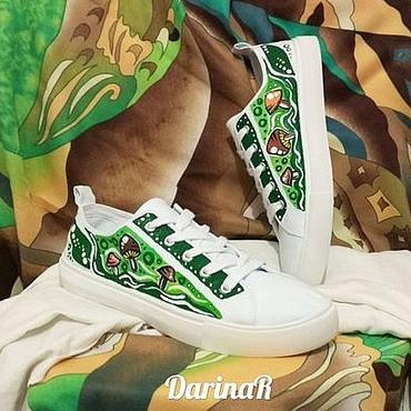 """Обувь ручной работы. Ярмарка Мастеров - ручная работа Кеды """"Мечта грибника"""". Handmade."""
