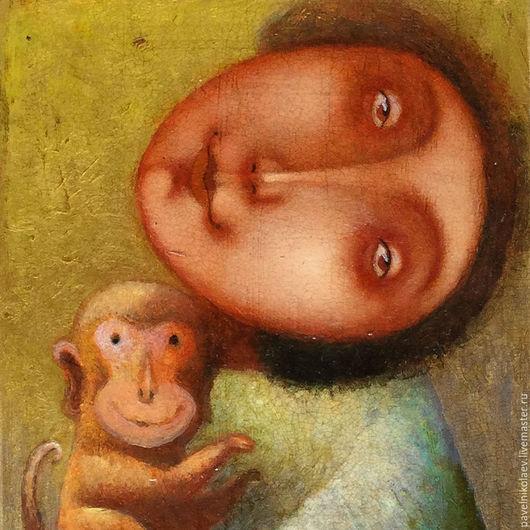"""Фантазийные сюжеты ручной работы. Ярмарка Мастеров - ручная работа. Купить """"Девочка с обезьянкой"""", авторская печать. Handmade. Комбинированный"""