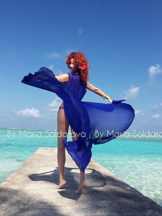 Пляжные туники ручной работы. Ярмарка Мастеров - ручная работа. Купить Длинная пляжная туника , магический синий. Handmade.