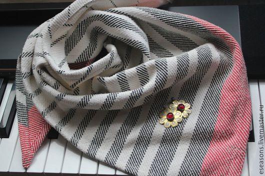 Шали, палантины ручной работы. Ярмарка Мастеров - ручная работа. Купить Шейный платок ручное ткачество. Handmade. Чёрно-белый