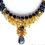 Украшения handmade. Livemaster - original item Necklace beads hawk`s eye, citrine, labradorite, gold plated. Handmade.