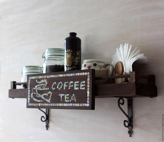 Мебель ручной работы. Ярмарка Мастеров - ручная работа. Купить Полка для кофе и специй с мозаичным декором. Handmade. Полка для вина