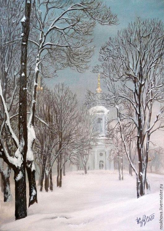 """Пейзаж ручной работы. Ярмарка Мастеров - ручная работа. Купить Картина маслом """"Зима в Кузьминках"""". Handmade. Белый, снег на деревьях"""