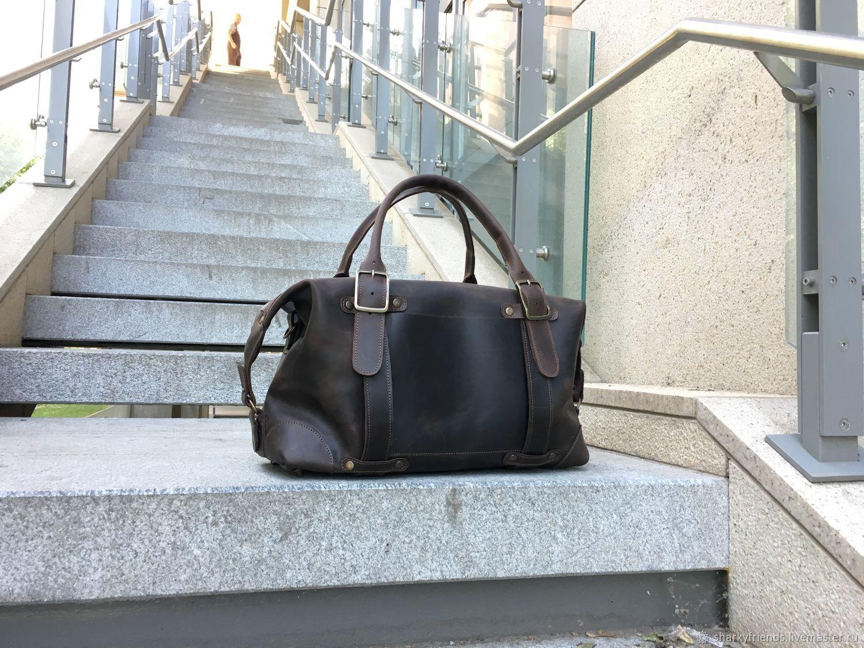Дорожная кожаная сумка, Спортивная коричневая сумка, Спортивная сумка, Днепр,  Фото №1