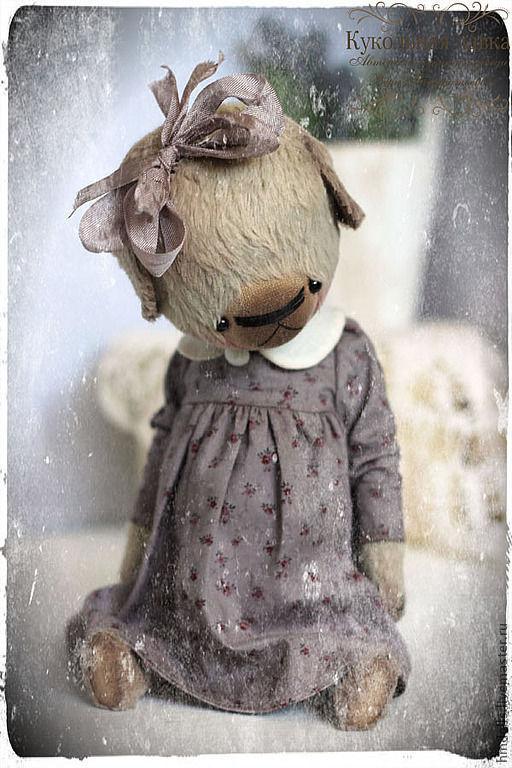 Мишки Тедди ручной работы. Ярмарка Мастеров - ручная работа. Купить Катюша. Handmade. Серый, мишка девочка, металлический гранулят