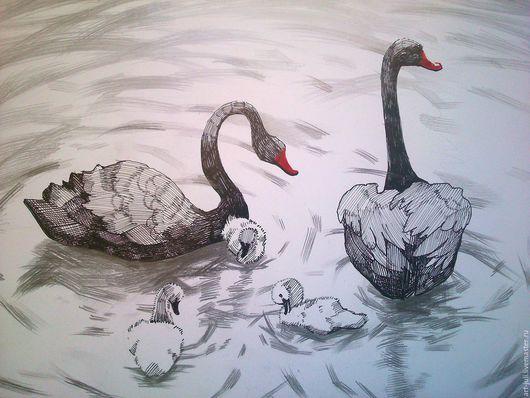 """Животные ручной работы. Ярмарка Мастеров - ручная работа. Купить рисунок """"чёрные лебеди"""". Handmade. Чёрно-белый"""