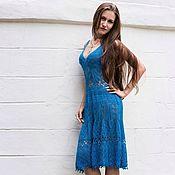 Одежда ручной работы. Ярмарка Мастеров - ручная работа Лазурно-синее платье. Handmade.