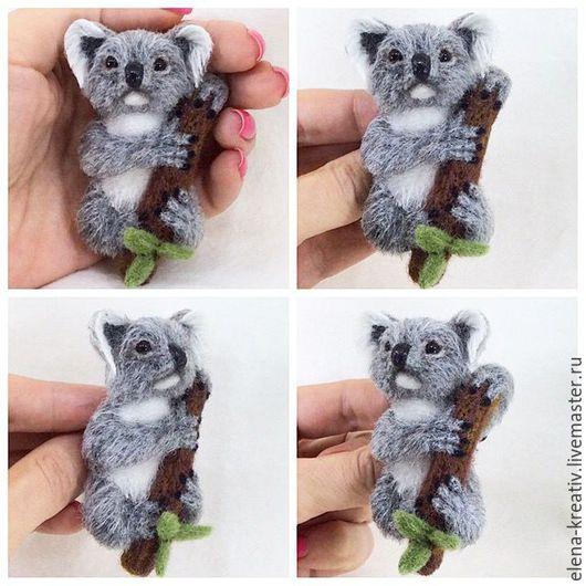Броши ручной работы. Ярмарка Мастеров - ручная работа. Купить Брошь коала.. Handmade. Комбинированный, животные, Сухое валяние