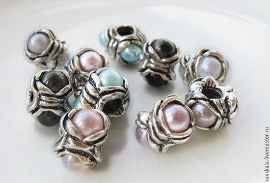 Бусины в европейском стиле имитация жемчуга Цветы, античное серебро