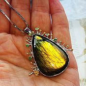 handmade. Livemaster - original item Radiance pendant on a chain with olive Labrador. Handmade.