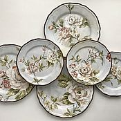 Посуда handmade. Livemaster - original item Painted porcelain Plates on the wall Rose on blue. Handmade.