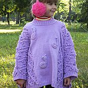 Работы для детей, handmade. Livemaster - original item Poncho Songs rainbow snails Detskoe knitted for girl. Handmade.