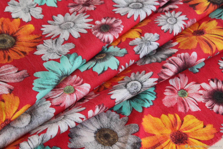 """Шитье ручной работы. Ярмарка Мастеров - ручная работа. Купить Летняя костюмка-стрейч """"Хризантемы"""" красно-коралловый. Handmade. Цветы"""