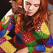 """Одежда ручной работы. Ярмарка Мастеров - ручная работа Платье """"Кашемировый арлекин: Королева"""" крючком из кашемира. Handmade."""