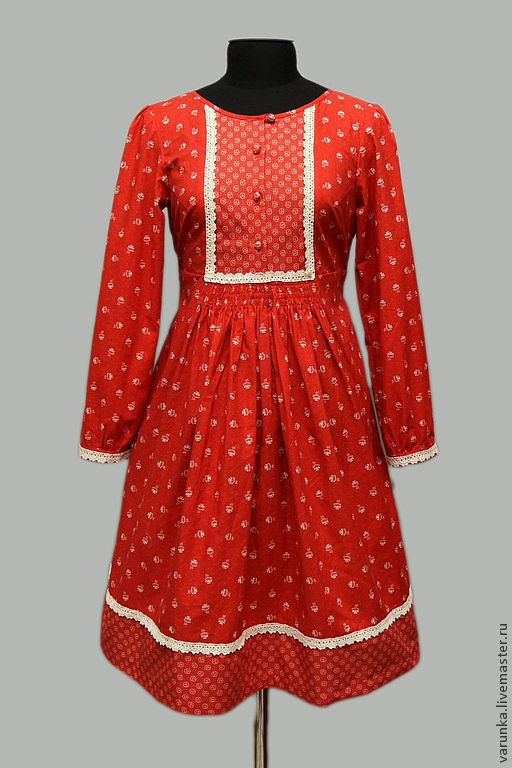 """Платья ручной работы. Ярмарка Мастеров - ручная работа. Купить Платье """"Калинка-малинка"""". Handmade. Ярко-красный, Платье в цветочек"""