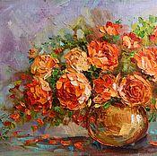 """Картины и панно ручной работы. Ярмарка Мастеров - ручная работа Картина маслом """"Персиковые розы"""". Handmade."""