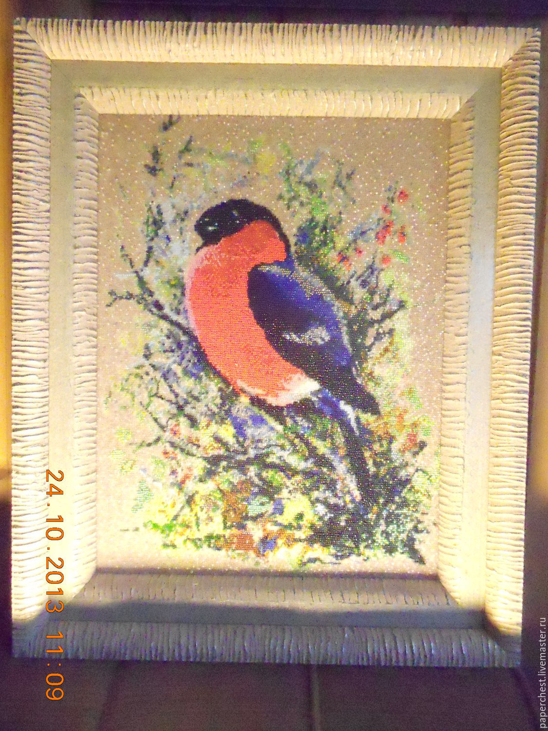 the picture winter bullfinch beaded embroidery, Pictures, Moscow,  Фото №1