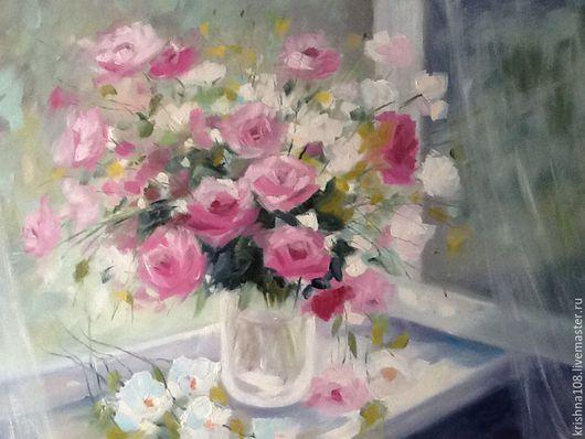 Картины цветов ручной работы. Ярмарка Мастеров - ручная работа. Купить Утренний букет роз. Handmade. Розовый, натюрморт с розами