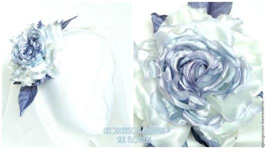 """Цветы ручной работы. Ярмарка Мастеров - ручная работа. Купить Роза заколка - брошь """"Lilac Gray"""". Цветы из шелка. Handmade."""