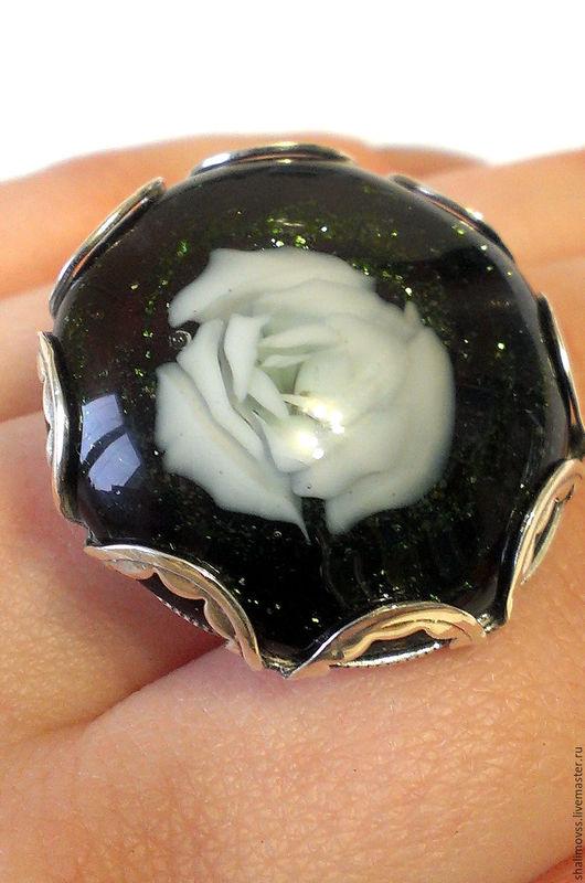 """Кольца ручной работы. Ярмарка Мастеров - ручная работа. Купить Кольцо """"Ночная роза"""". Handmade. Роза, брошь в форме цветка"""