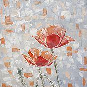 """Картины и панно ручной работы. Ярмарка Мастеров - ручная работа Картина маслом """"Мозаика. Красные маки"""" 40х60 (  цветы ). Handmade."""