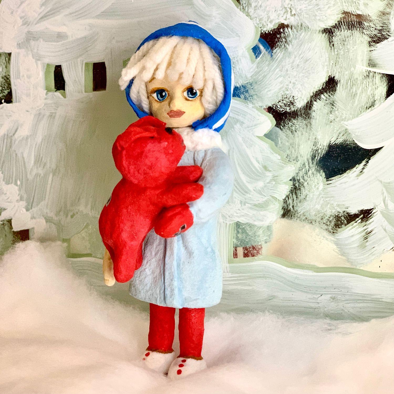Ватная игрушка Девочка с другом из м/ф «Варежка», Елочные игрушки, Реутов,  Фото №1