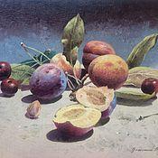 Картины ручной работы. Ярмарка Мастеров - ручная работа Натюрморт со сливами и вишнями. Handmade.