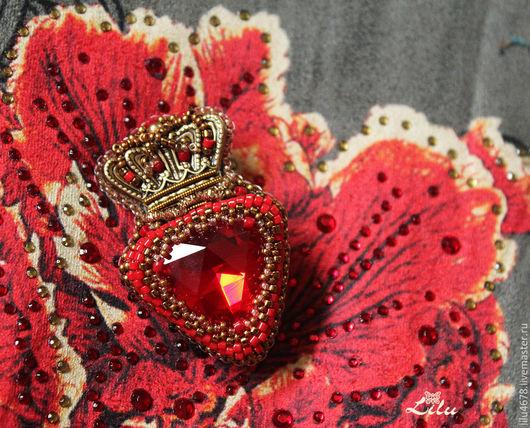 """Броши ручной работы. Ярмарка Мастеров - ручная работа. Купить Брошь с короной красная """"Медичи"""". Handmade. Золотой, корона"""
