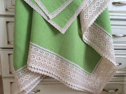 """Текстиль, ковры ручной работы. Ярмарка Мастеров - ручная работа. Купить Скатерть льняная """" Первая зелень-2"""". Handmade."""