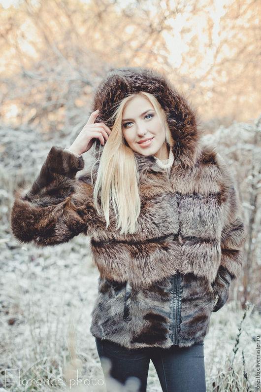 """Верхняя одежда ручной работы. Ярмарка Мастеров - ручная работа. Купить Меховая куртка из лисы """"Brown"""". Handmade. Коричневый"""