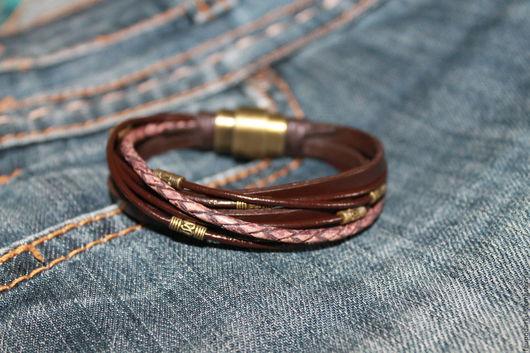 Браслеты ручной работы. Ярмарка Мастеров - ручная работа. Купить Браслет из кожаных шнуров - 2. Handmade. Коричневый, браслет из кожи