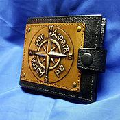 """Сумки и аксессуары handmade. Livemaster - original item Leather wallet """"WIND ROSE"""" with initials. Handmade."""