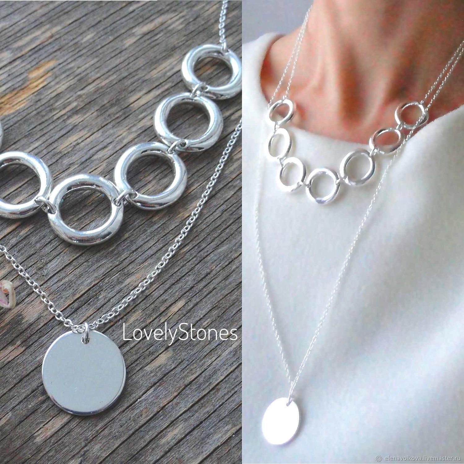 Necklace Ecliptic double with pendants on chains multilayer, Necklace, Yaroslavl,  Фото №1