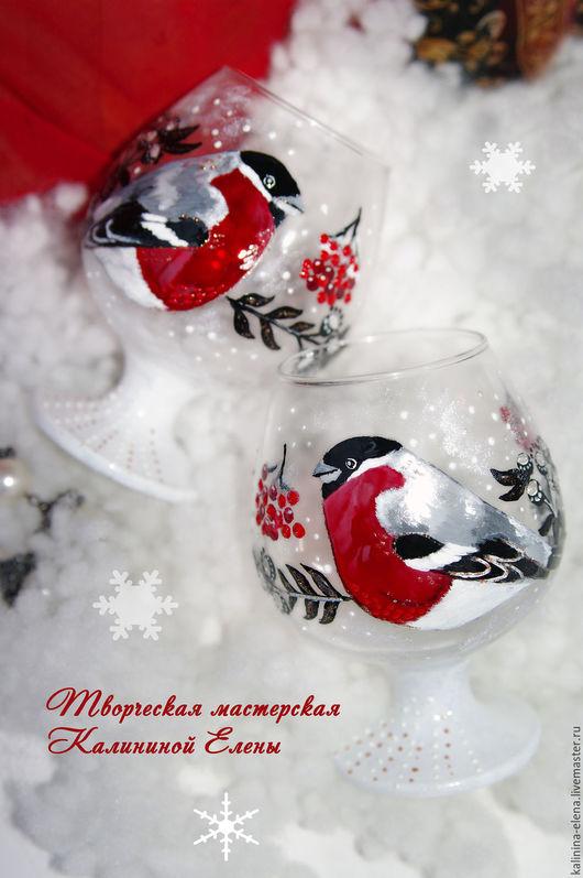 """Бокалы, стаканы ручной работы. Ярмарка Мастеров - ручная работа. Купить Бокалы для коньяка """"Снегири"""". Handmade. Разноцветный, бокал соснегирем"""