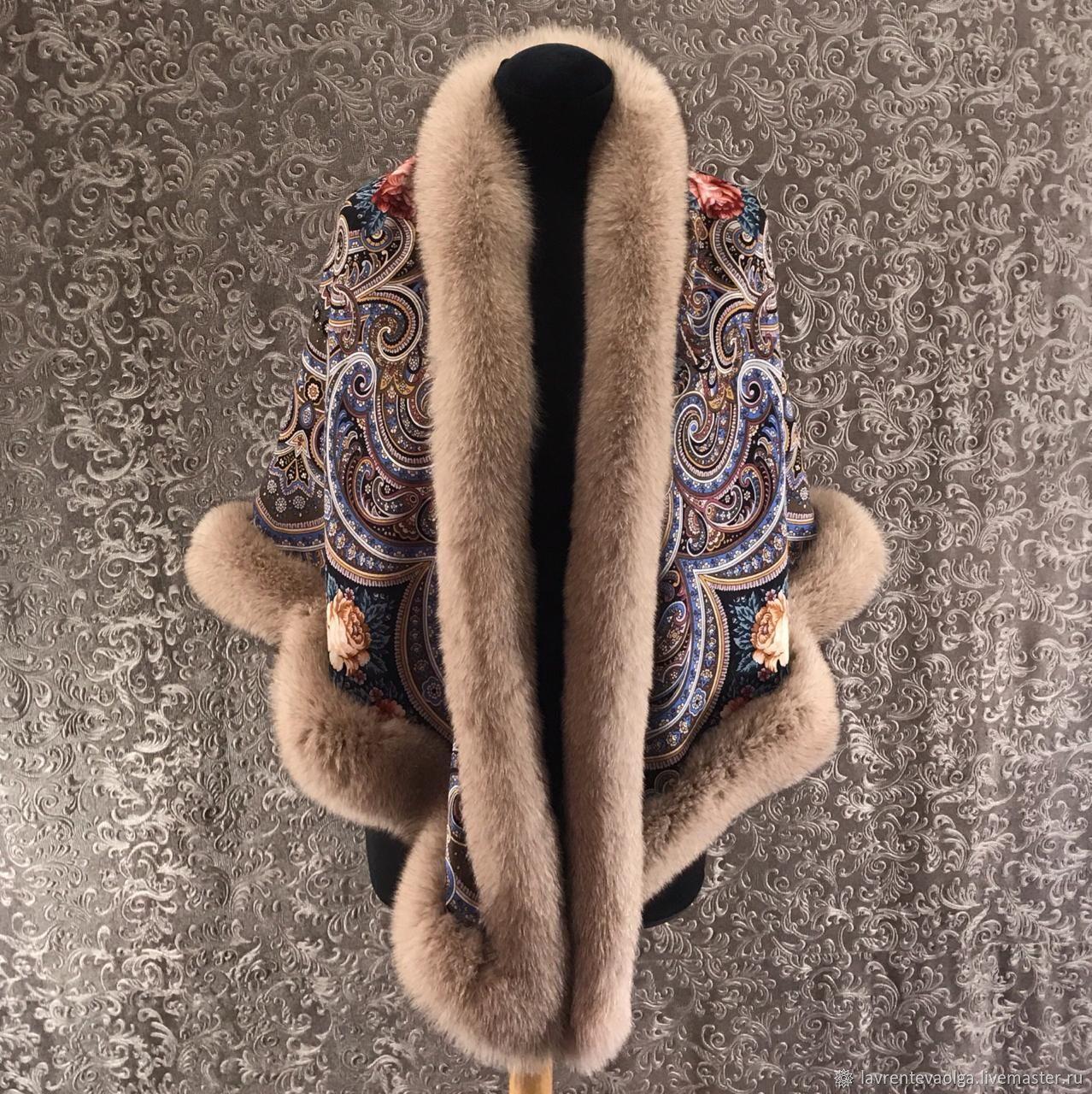 Pavlovo Posad shawl with fur Fox, Shawls1, Moscow,  Фото №1