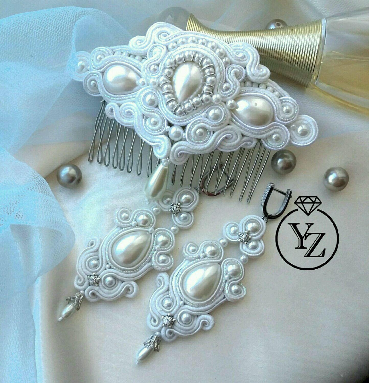 8c4053cb3 Buy Wedding jewelry set, long soutache earrings · Wedding Jewelry handmade. Wedding  jewelry set, long soutache earrings and comb.