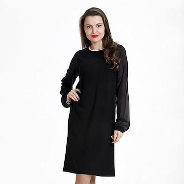 Одежда ручной работы. Ярмарка Мастеров - ручная работа 100: 42 размер - коктейльное черное платье трапеция. Handmade.