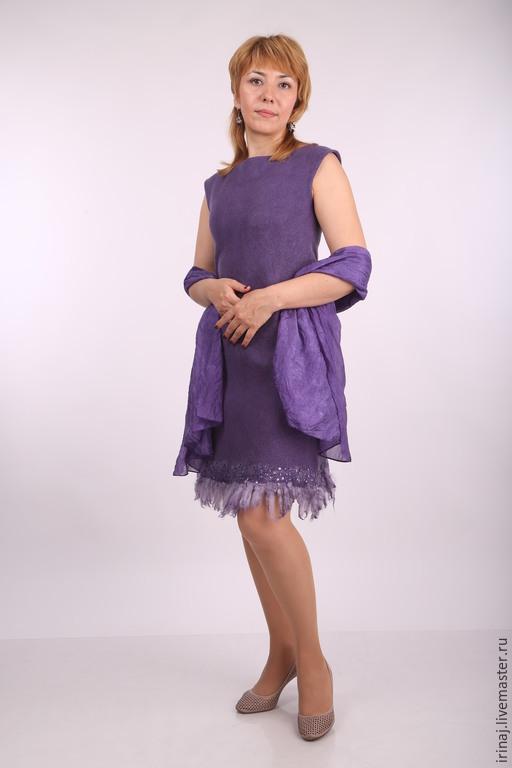 """Платья ручной работы. Ярмарка Мастеров - ручная работа. Купить валяное платье """"Dark purple"""". Handmade. Платье, нарядное платье"""