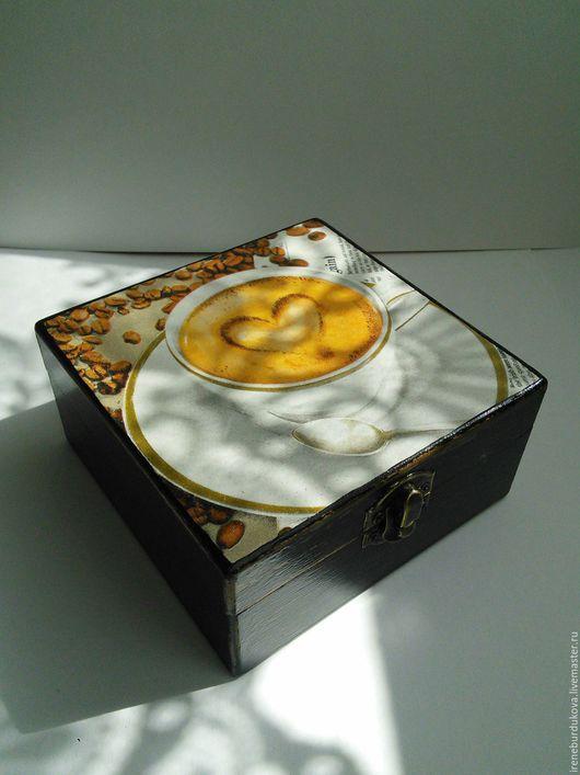 """Шкатулки ручной работы. Ярмарка Мастеров - ручная работа. Купить Шкатулка """"Чашка кофе"""". Handmade. Комбинированный, шкатулка, кофе, дерево"""