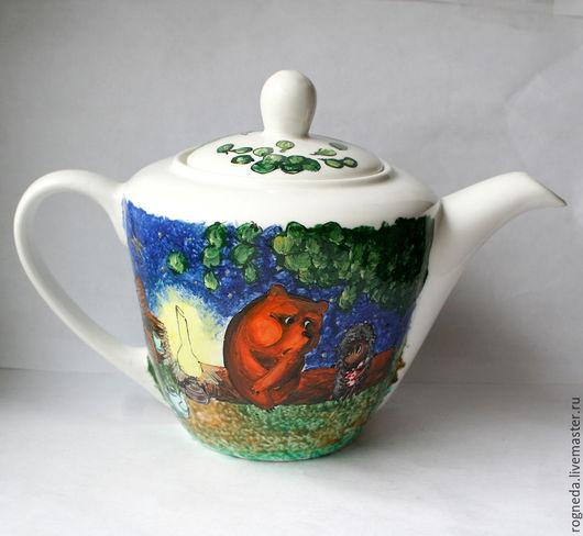 """Чайники, кофейники ручной работы. Ярмарка Мастеров - ручная работа. Купить Чайник """"Ежик в тумане"""" с фоном (0803). Handmade. Комбинированный"""