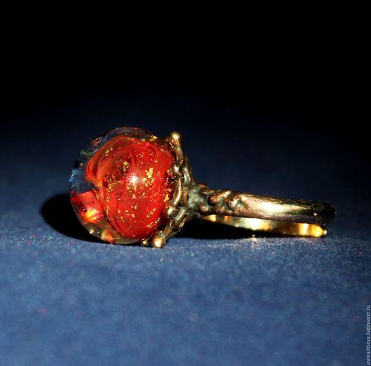"""Кольца ручной работы. Ярмарка Мастеров - ручная работа. Купить Кольцо """"Фламенко"""". Handmade. Ярко-красный, муранское стекло, шикарное"""