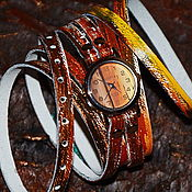 """Часы наручные ручной работы. Ярмарка Мастеров - ручная работа Часы на длинном ремешке  - """"Часовщик рисовал"""". Handmade."""