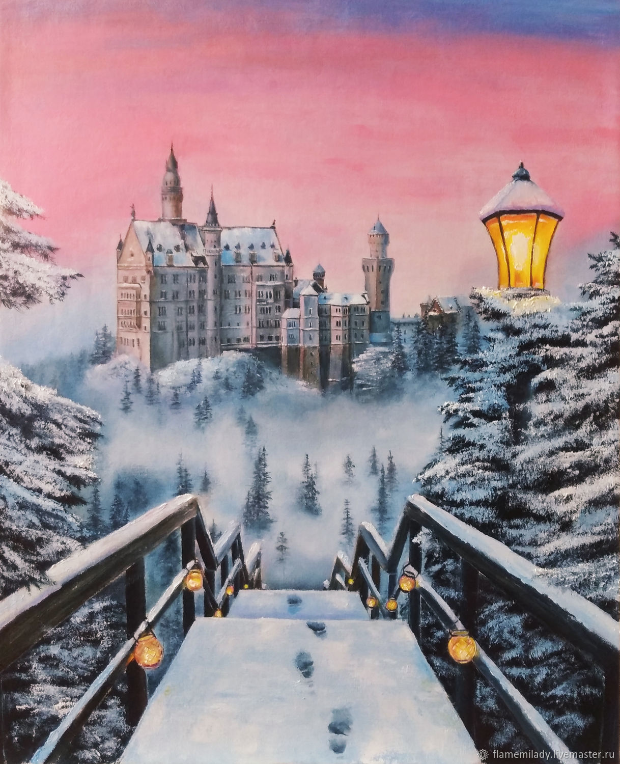 Painting winter landscape Pink sunset oil painting, Pictures, Ekaterinburg,  Фото №1