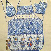 Для дома и интерьера handmade. Livemaster - original item Kitchen set Gzhel Russian nesting Dolls 3 pieces. Handmade.