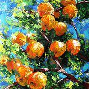 handmade. Livemaster - original item Orange Painting Watercolor acrylic. Handmade.