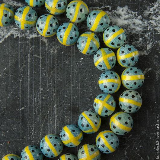 Для украшений ручной работы. Ярмарка Мастеров - ручная работа. Купить Круглые деревянные бусины с крестом, 15 мм.. Handmade.