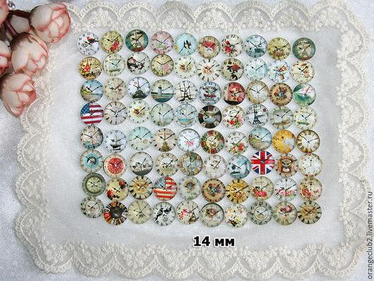 Куклы и игрушки ручной работы. Ярмарка Мастеров - ручная работа. Купить 14 мм Стеклянные кабошоны часы. Handmade.