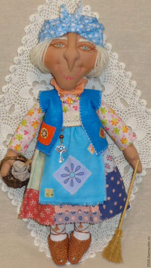 Коллекционные куклы ручной работы. Ярмарка Мастеров - ручная работа. Купить И вовсе не баба Яга - милейшая дама с котиком!. Handmade.