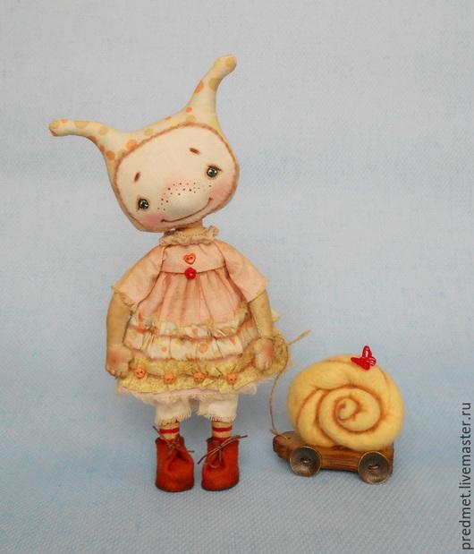 Коллекционные куклы ручной работы. Ярмарка Мастеров - ручная работа. Купить Улитка. Handmade. Желтый, малышка, шерсть