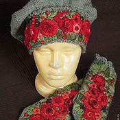 Аксессуары ручной работы. Ярмарка Мастеров - ручная работа берет зеленый с ручной вышивкой Калина красная. Handmade.